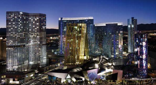 Una panoramica degli edifici realizzati nel complesso CityCenter