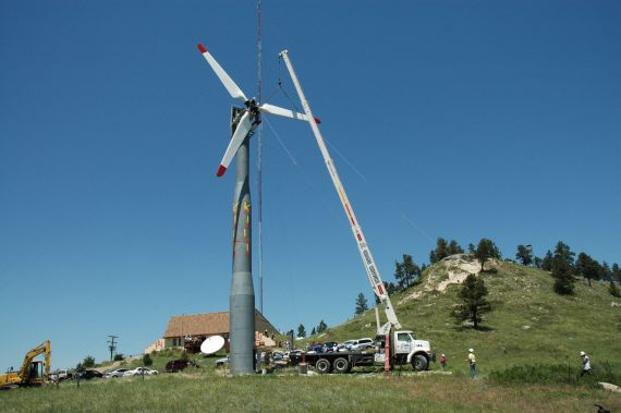 """A 65 kW wind turbine being erected on the Pine Ridge Reservation just south of Radio Station KILI. The """"Voice of the Lakota Nation"""" is now powered by the Power of the Four Winds"""