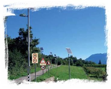 Lampioni FV in zone del Comune di Isera difficilmente elettrificabili